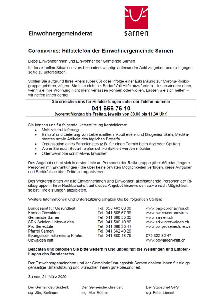 Coronavirus: Hilfstelefon der Einwohnergemeinde Sarnen